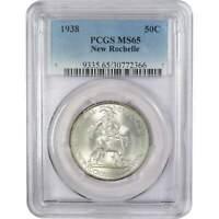 1938 New Rochelle New York Commemorative Half Dollar MS 65 PCGS 90% Silver 50c