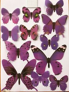 "12Pcs 3D Butterfly Wall Decal Removable PVC ""PURPLE"" AUSSIE SELLER"