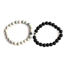 2pcs Round Lava Bead Distance Couple Bracelet Evil Eye with Elastic Cord