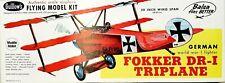 """Guillow's German Fokker Dr-I Triplane 20"""" Balsa Flying WWI Fighter Kit"""