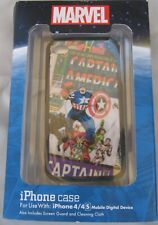 NIB MARVEL CAPTAIN AMERICA iPHONE CASE FOR 4/4S W/SCREEN GUARD & CLEANING CLOTH
