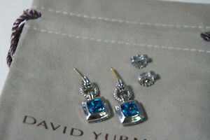 David Yurman 925 Silver Blue Topaz Drop 585 Posts Renaissance Earrings  Pouch