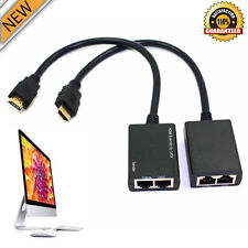 HDMI Over RJ45 CAT5e CAT6 LAN Ethernet Balun Extender Repeater Up to 100ft 1080P