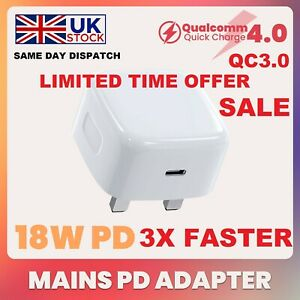UK Plug PD 18W USB-C Type C Fast Wall Charger Adapter For iPhone 13 12 Pro Max
