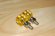DUDDS DICE YELLOW GEMS w/WHITE DOTS LICENSE PLATE BOLTS (SET OF 2)