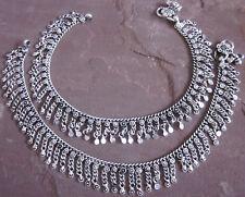 Tassel German Silver Metal Fringe ANKLET PAIR Ankle Beach Barefoot Jewelry Boho