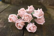 24 x VINTAGE DUSKY PEACH COLOURFAST FOAM ROSE BUDS 2.5cm WEDDING BRIDAL FLOWERS