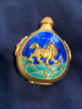 Antique Chinese green Blue enamel and gold Foo Dog Snuff Bottle Stone lid