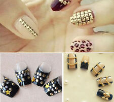 Fashion 3d Gold Silver Metal Tips Metallic Studs Nail Art Stickers 120pcs/lot E
