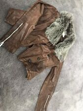 karen millen leather jacket size 10. Brown with fur collar. Great condition