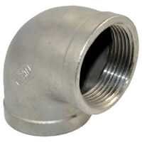 "304 Stainless Steel 1 1/2"" 1.5"" Elbow 90 degree Pipe Fitting Female threaded"