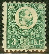 HUNGARY #8, 3k green, og, hinged, normal centering