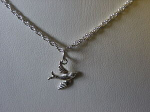 """sterling silver swallow pendant and 18"""" chain/necklace"""