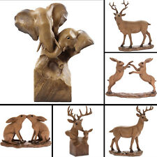 Wooden Animal Statue Carved Deer Stag Figurine Hare Sculpture Ornament Decor