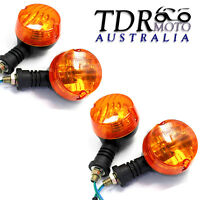 4x Motorcycle Motorbike Turn Signal Indicators Light Bulb Amber 12V Orange Lens