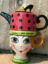 Appletree Design Whimsical Lady Lux Teapot on Top of Tea Cup Shoes on Her Mind