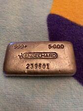 RARE 5 OZ OLD POUR ENGELHARD BAR .999 FINE SILVER! S/N 239601