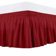 Queen 400Tc Sateen Solid Cotton Wrap Around Bed Skirt Burgundy