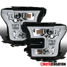 For 2015-2017 Ford F150 LED DRL Bar Clear Lens Projector Headlights Lamps Pair