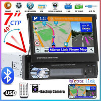 """7"""" 1Din Car Radio MP5 Player Flip Bluetooth Stereo Touch Screen + Backup Camera"""