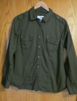 Sonoma Life Style Women's Large Cotton button up convert slv. army green shirt