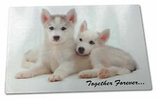Husky Puppies 'Together Forever' Extra Large Toughened Glass Cutting, TF-H60GCBL