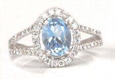 585er WeißGold 2,65Kt Natürlicher Blauer Topas EGL Zertifizierter Diamant ring