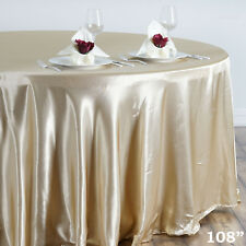 """1 pc Champagne 108"""" ROUND Satin TABLECLOTH Wedding Party Kitchen Tabletop Linens"""