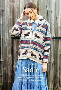 """~ Pull-Out Knitting Pattern For Lady's Stunning Horse Motif Jacket ~ 32"""" ~ 48"""" ~"""