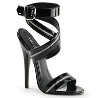 "Devious Domina Black Patent  6"" Heel Cross Zipper Strap Sandal Shoe 5 - 14"