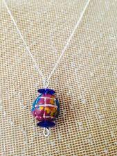 Globe necklace Clay bead pendant Handmade