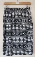 Paris 21 Women's Skirt Size 10 Black White Aztec Print Pencil Stretch Casual