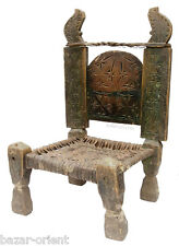 antik orient Holz und Leder Stuhl Chair Nuristan Swat Pakistan afghan Rarität -J