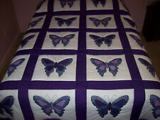 HOME MADE QUEEN SIZE PURPLE BUTTERFLY QUILT