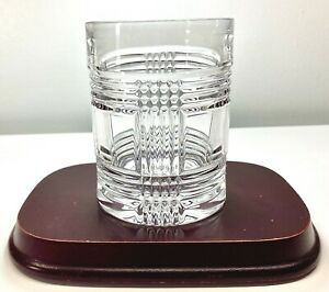 Ralph Lauren Crystal Glen Plaid Double Old Fashioned Rocks Glass RL Etched 10oz