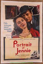 PORTRAIT OF JENNIE MOVIE POSTER R1954 JENNIFER JONES 27x41 One Sheet Linenbacked