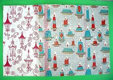 """2 VINTAGE CHRISTMAS GIFT WRAP SHEETS STREET LAMPS CANDLES 26"""" X 20"""" EACH SHEET"""