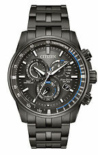 NEW Citizen Eco-Drive Perpetual Chrono Black IP Steel Mens Watch AT4127-52H