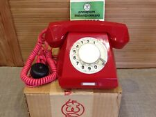 New!VTG 1979 Rotary Dial Phone Desk Red TA-68M-2 Russian Made in USSR+Box+Manual