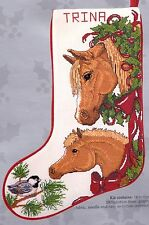 Candamar Horses and Bows Colt Foal Christmas Cross Stitch Stocking Kit 50431 R