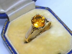 A Beautiful Ladies 9ct Gold Citrine Solitaire Dress Ring Size L, 2.5g