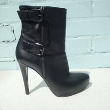 ALLSAINTS Leather Ankle Boots UK 7 Eur 40 Womens Buckles Platform Black Boots