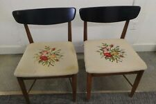 VINTAGE PAIR OF MID CENTURY  CHAIRS WITH NEEDLEPOINT WIDE CUSHIONS