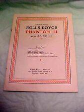 Rolls Royce Phantom II 40-50 HP Chassis Specs Brochure Reprint 1973 R.R.O.C. A.