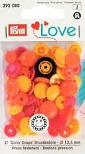 30 Botones De Presión sin costura Prym Love color-broches flor amarillo /