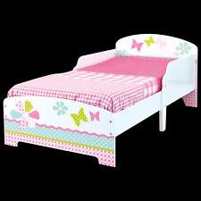 Kinderbett 140x70cm Jugendbett Juniorbett Bett Kinder Blumen Holz weiß rosa