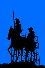 "20x30""Decoration CANVAS.Interior design art.Sancho and Don Quixote.Blue.6295"
