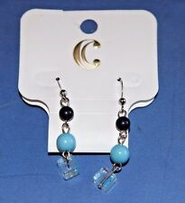 Blue Clear Hook Back New Dangle Earrings Navy Light