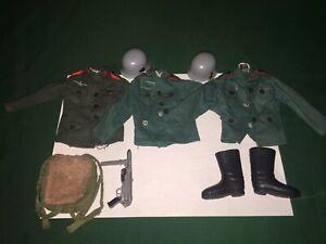 VINTAGE ACTION MAN JOB LOT OF GERMAN UNIFORMS/HATS/WEAPONS ACCESSORIES ETC