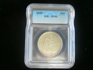 1856 P Seated Liberty Silver Half Dollar 50c ICG XF40 EF40 UNDERGRADED!! No Res.